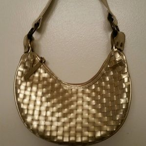 Gold leather like woven event bag